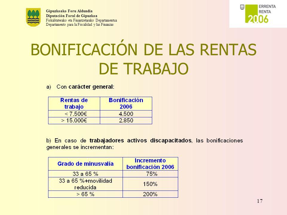 BONIFICACIÓN DE LAS RENTAS DE TRABAJO