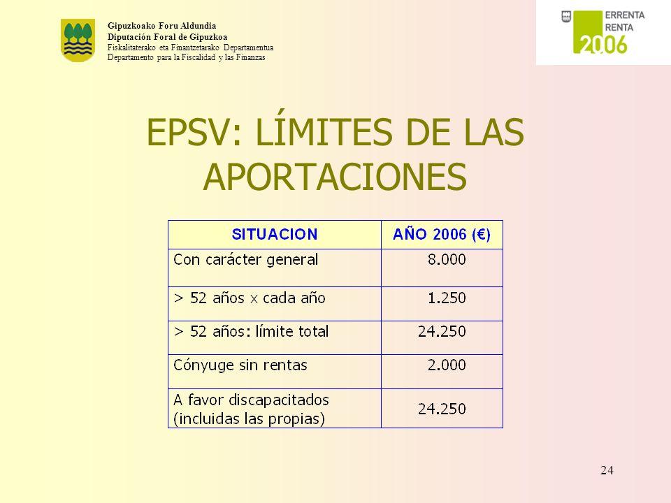 EPSV: LÍMITES DE LAS APORTACIONES