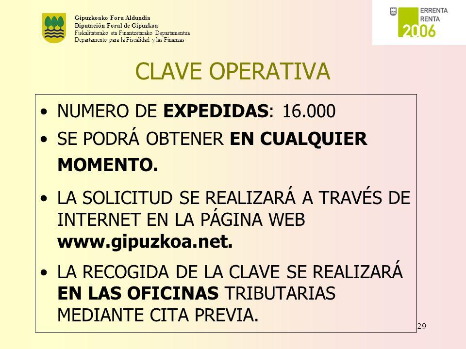 CLAVE OPERATIVA NUMERO DE EXPEDIDAS: 16.000