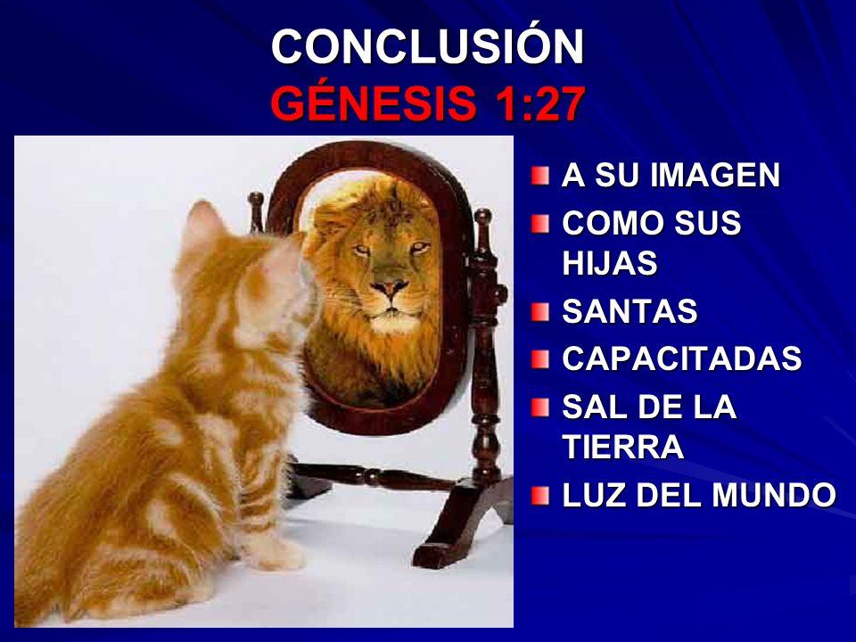 CONCLUSIÓN GÉNESIS 1:27 A SU IMAGEN COMO SUS HIJAS SANTAS CAPACITADAS