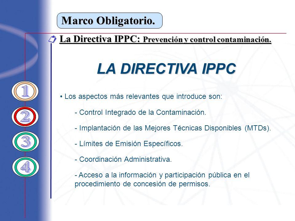 LA DIRECTIVA IPPC 1 2 3 4 Marco Obligatorio.