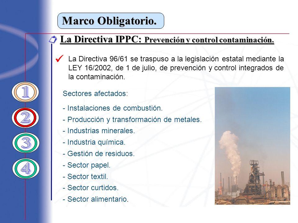Marco Obligatorio.  La Directiva IPPC: Prevención y control contaminación. 