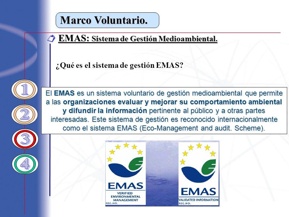 1 2 3 4 Marco Voluntario.  EMAS: Sistema de Gestión Medioambiental.