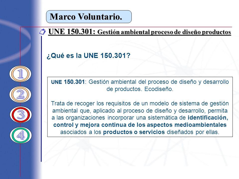 Marco Voluntario.  UNE 150.301: Gestión ambiental proceso de diseño productos. ¿Qué es la UNE 150.301