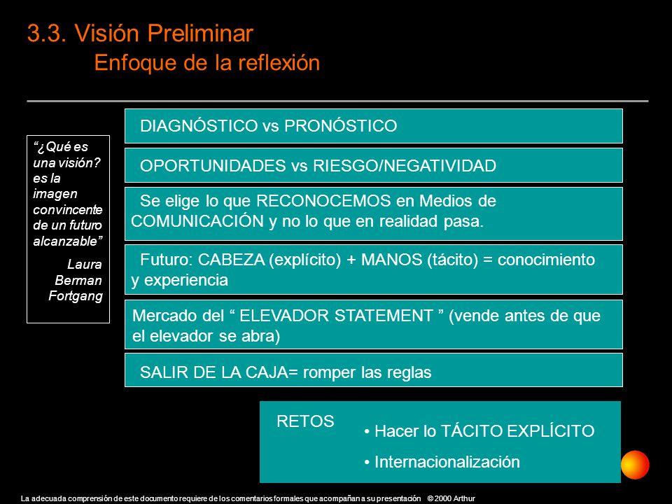 3.3. Visión Preliminar Enfoque de la reflexión