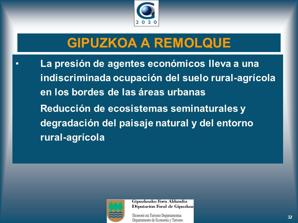 GIPUZKOA A REMOLQUE La presión de agentes económicos lleva a una indiscriminada ocupación del suelo rural-agrícola en los bordes de las áreas urbanas.