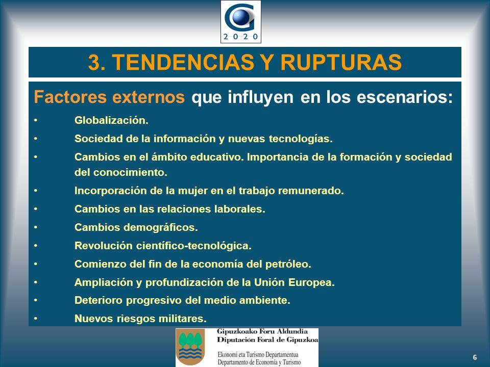 3. TENDENCIAS Y RUPTURAS Factores externos que influyen en los escenarios: Globalización. Sociedad de la información y nuevas tecnologías.