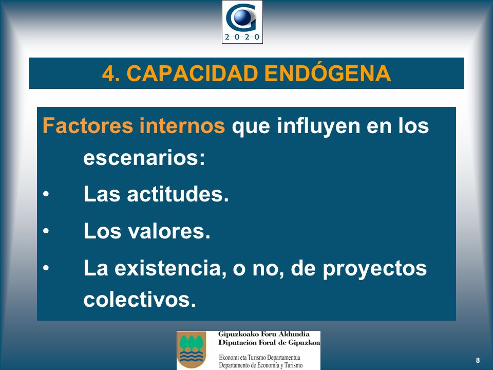 4. CAPACIDAD ENDÓGENA Factores internos que influyen en los escenarios: Las actitudes. Los valores.