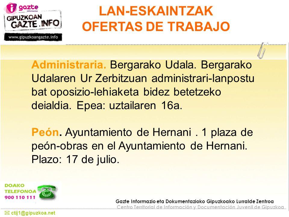 LAN-ESKAINTZAK OFERTAS DE TRABAJO