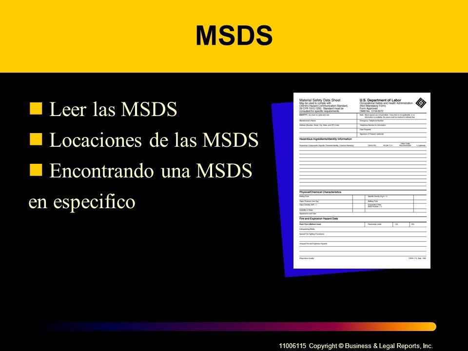 MSDS Leer las MSDS Locaciones de las MSDS Encontrando una MSDS