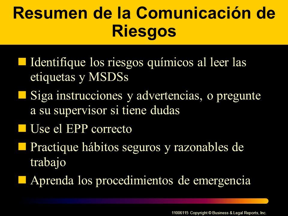 Resumen de la Comunicación de Riesgos