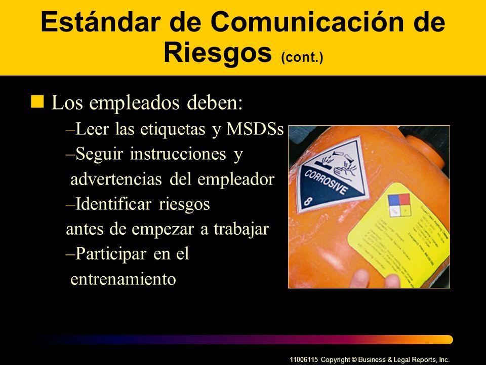 Estándar de Comunicación de Riesgos (cont.)
