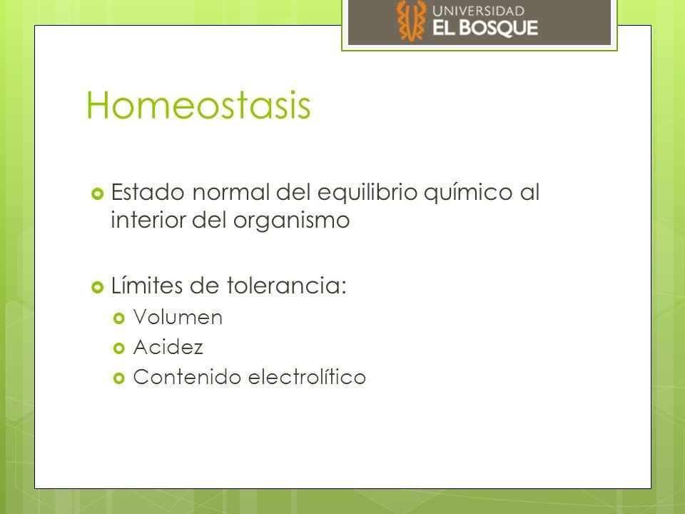 Homeostasis Estado normal del equilibrio químico al interior del organismo. Límites de tolerancia: