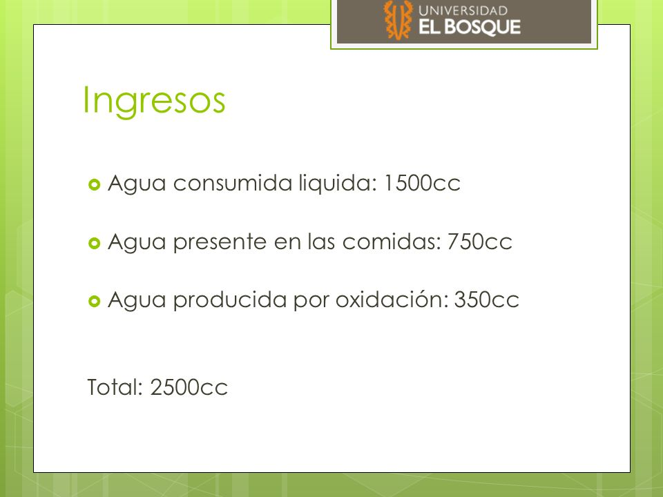 Ingresos Agua consumida liquida: 1500cc