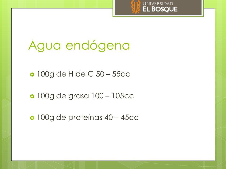 Agua endógena 100g de H de C 50 – 55cc 100g de grasa 100 – 105cc