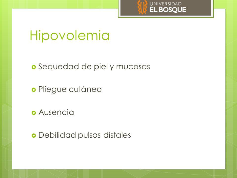 Hipovolemia Sequedad de piel y mucosas Pliegue cutáneo Ausencia