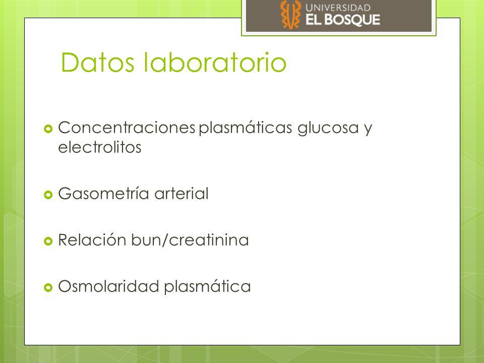 Datos laboratorio Concentraciones plasmáticas glucosa y electrolitos