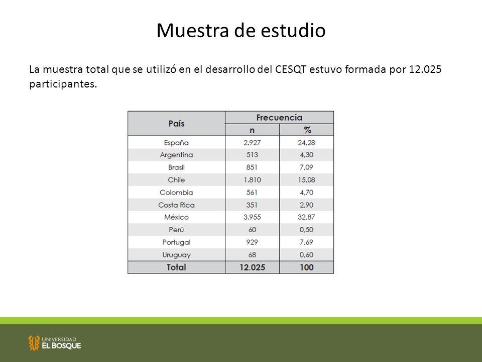 Muestra de estudio La muestra total que se utilizó en el desarrollo del CESQT estuvo formada por 12.025 participantes.