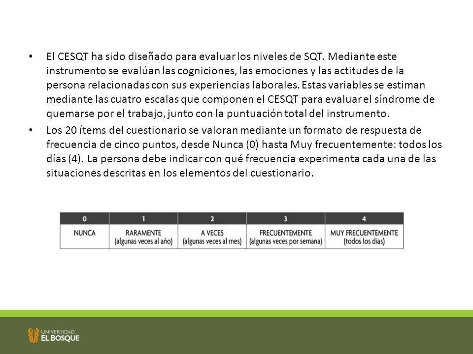 El CESQT ha sido diseñado para evaluar los niveles de SQT