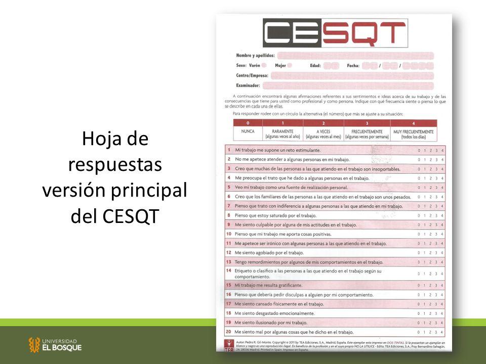 Hoja de respuestas versión principal del CESQT