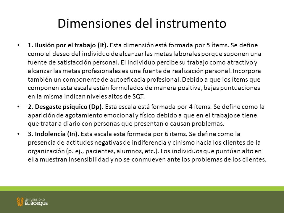 Dimensiones del instrumento