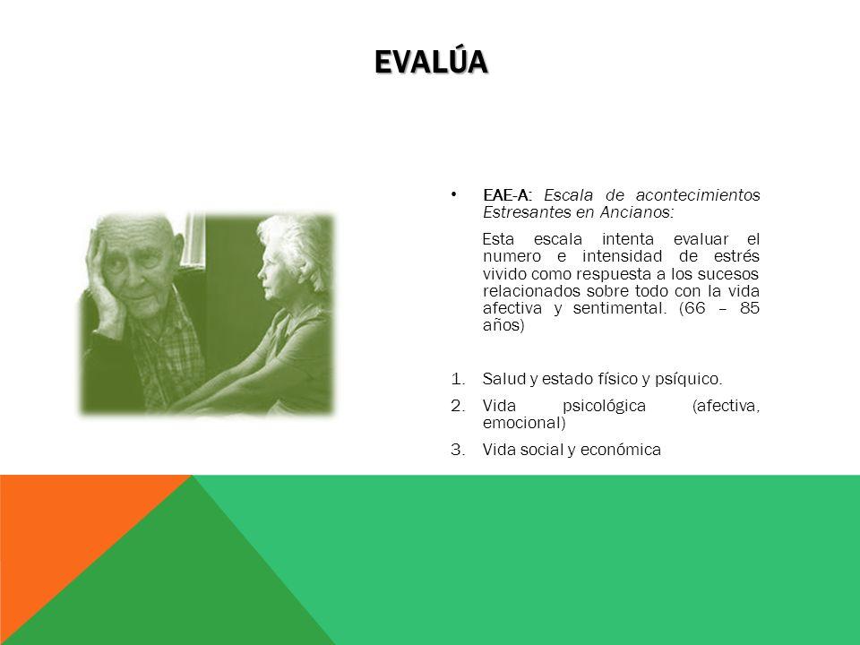 Evalúa EAE-A: Escala de acontecimientos Estresantes en Ancianos: