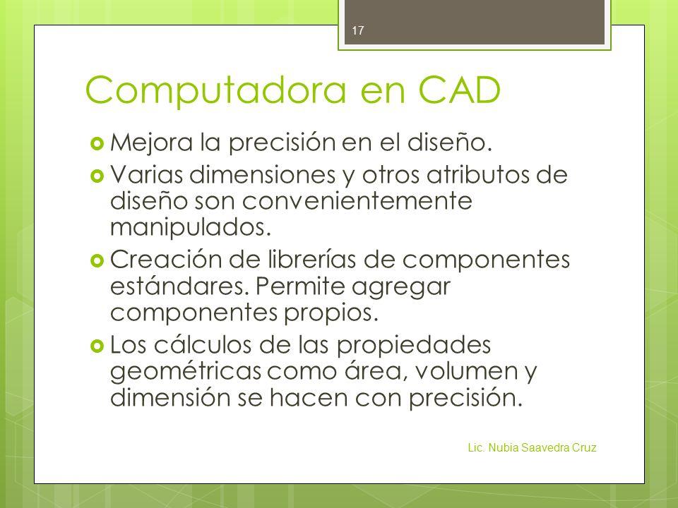 Computadora en CAD Mejora la precisión en el diseño.