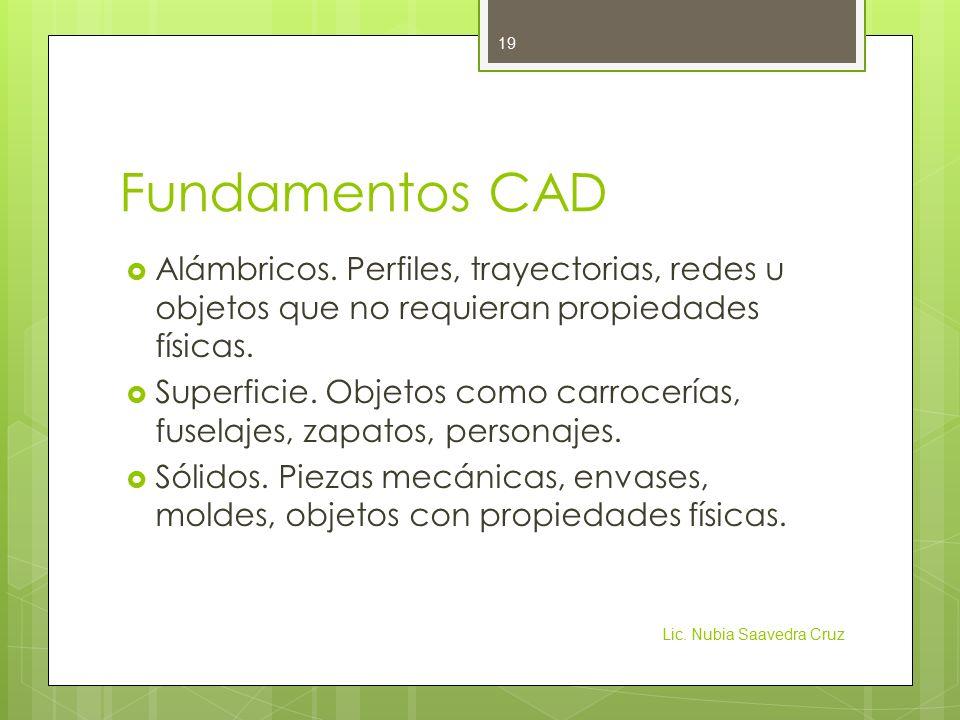 Fundamentos CAD Alámbricos. Perfiles, trayectorias, redes u objetos que no requieran propiedades físicas.