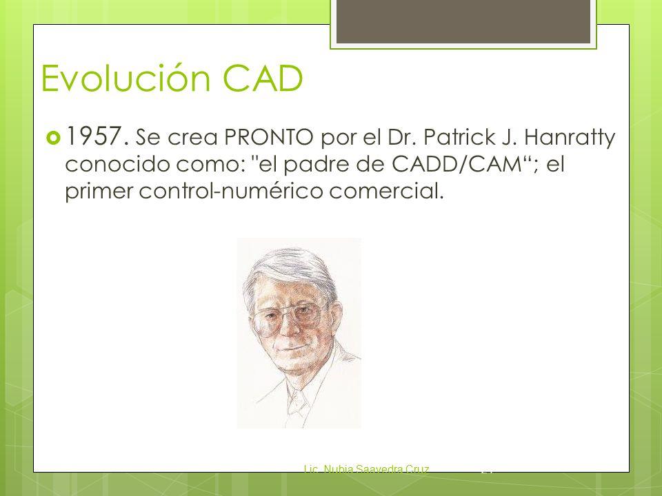 Evolución CAD 1957. Se crea PRONTO por el Dr. Patrick J. Hanratty conocido como: el padre de CADD/CAM ; el primer control-numérico comercial.