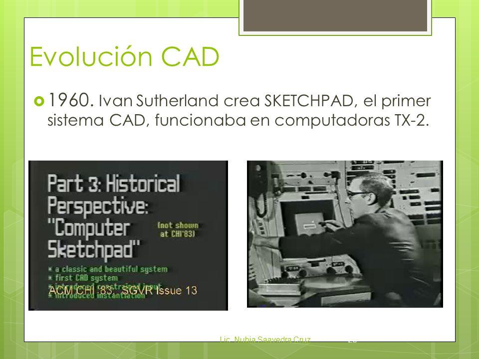 Evolución CAD 1960. Ivan Sutherland crea SKETCHPAD, el primer sistema CAD, funcionaba en computadoras TX-2.