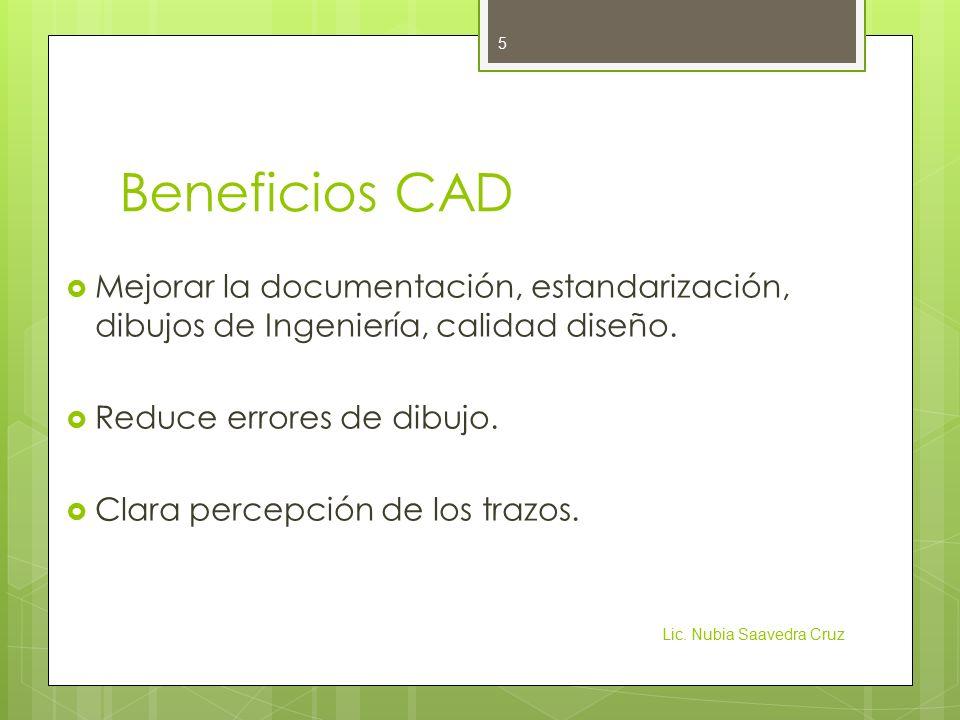 Beneficios CAD Mejorar la documentación, estandarización, dibujos de Ingeniería, calidad diseño. Reduce errores de dibujo.