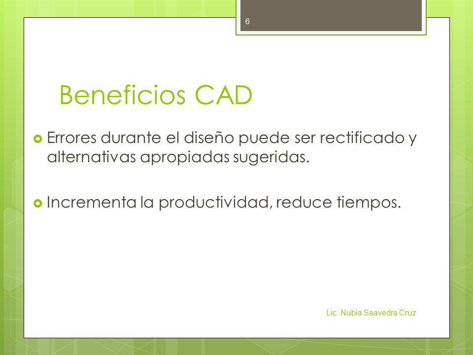 Beneficios CAD Errores durante el diseño puede ser rectificado y alternativas apropiadas sugeridas.