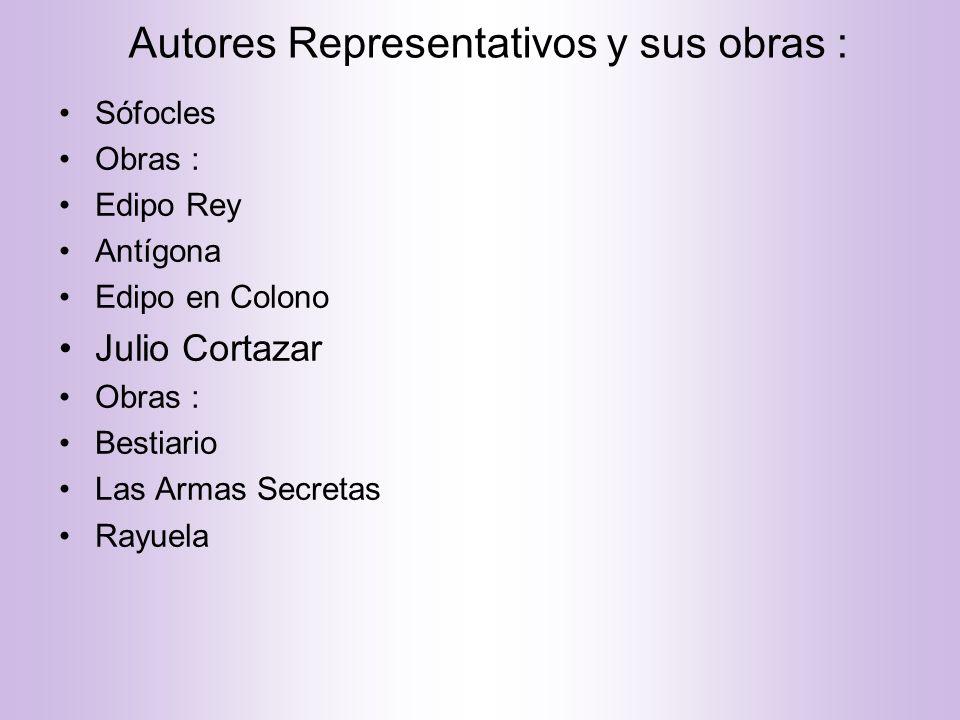 Autores Representativos y sus obras :