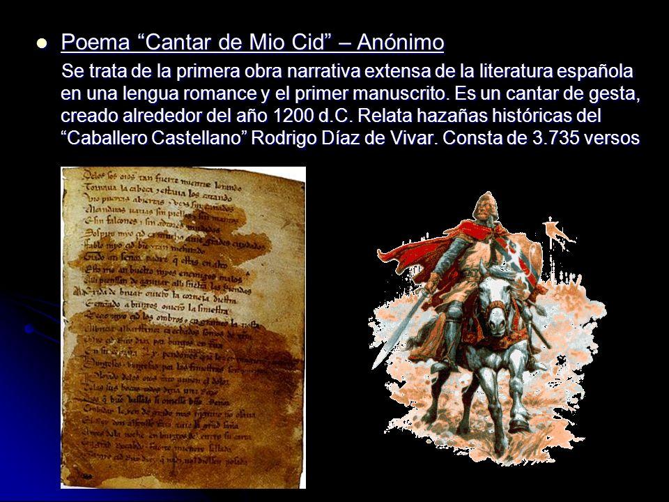 Poema Cantar de Mio Cid – Anónimo