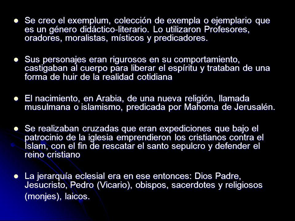 Se creo el exemplum, colección de exempla o ejemplario que es un género didáctico-literario. Lo utilizaron Profesores, oradores, moralistas, místicos y predicadores.