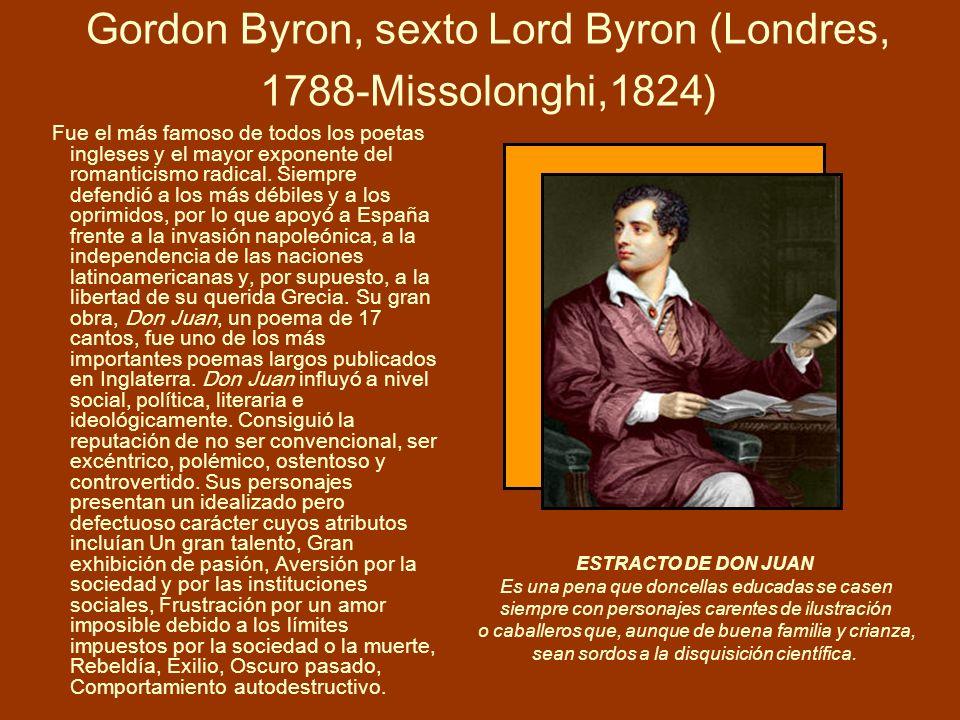 Gordon Byron, sexto Lord Byron (Londres, 1788-Missolonghi,1824)