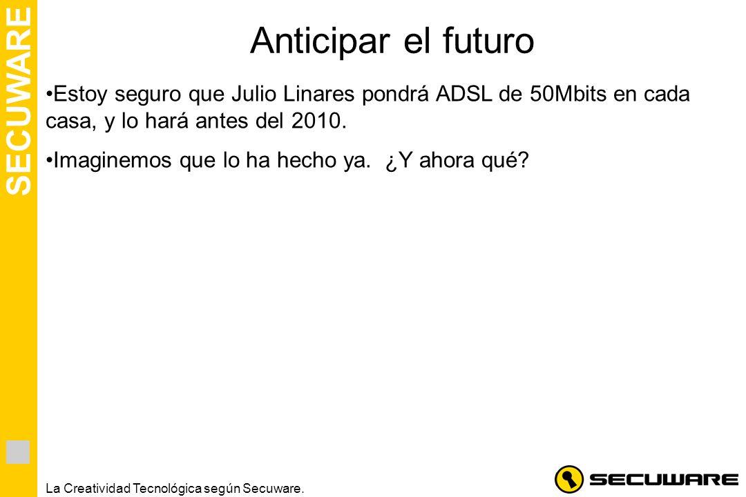 Anticipar el futuro Estoy seguro que Julio Linares pondrá ADSL de 50Mbits en cada casa, y lo hará antes del 2010.