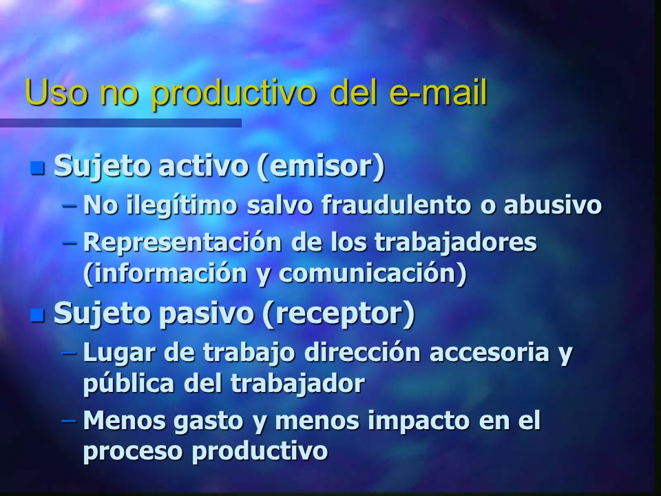 Uso no productivo del e-mail