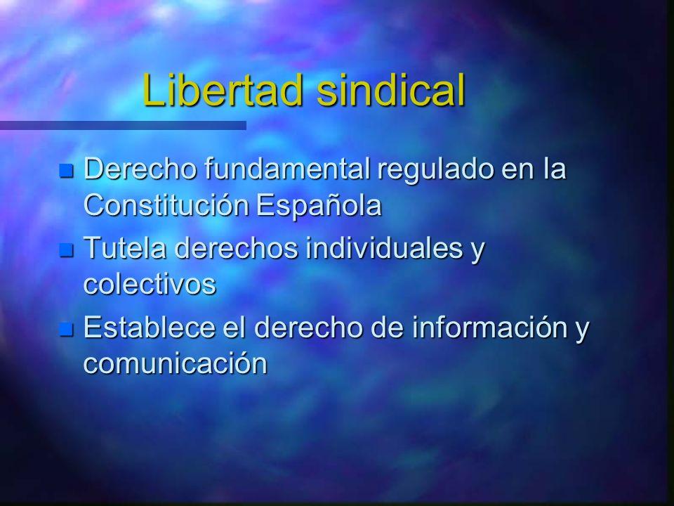 Libertad sindical Derecho fundamental regulado en la Constitución Española. Tutela derechos individuales y colectivos.