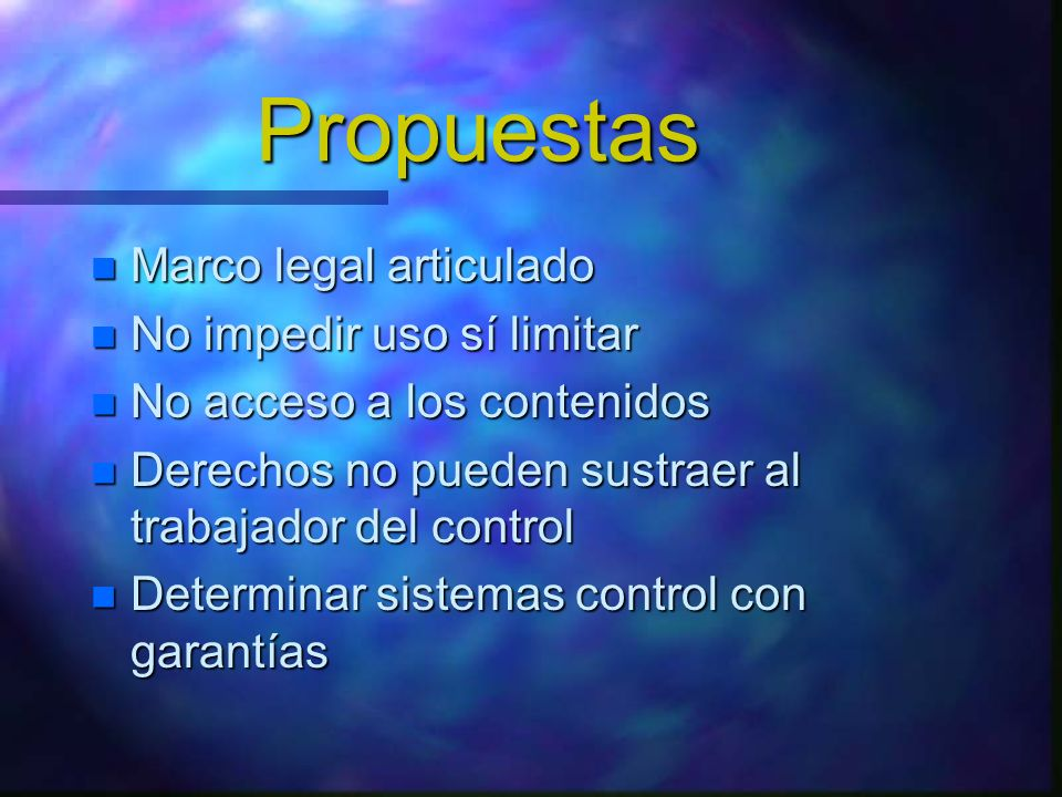 Propuestas Marco legal articulado No impedir uso sí limitar