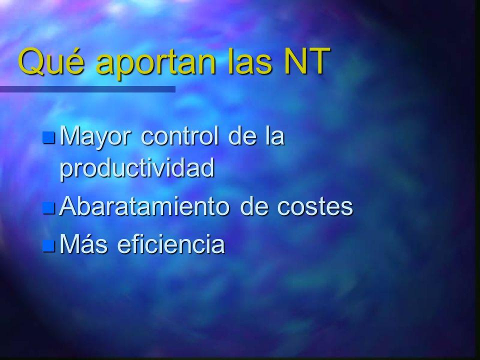 Qué aportan las NT Mayor control de la productividad
