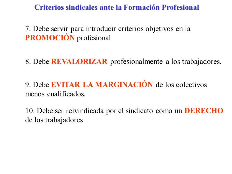 Criterios sindicales ante la Formación Profesional
