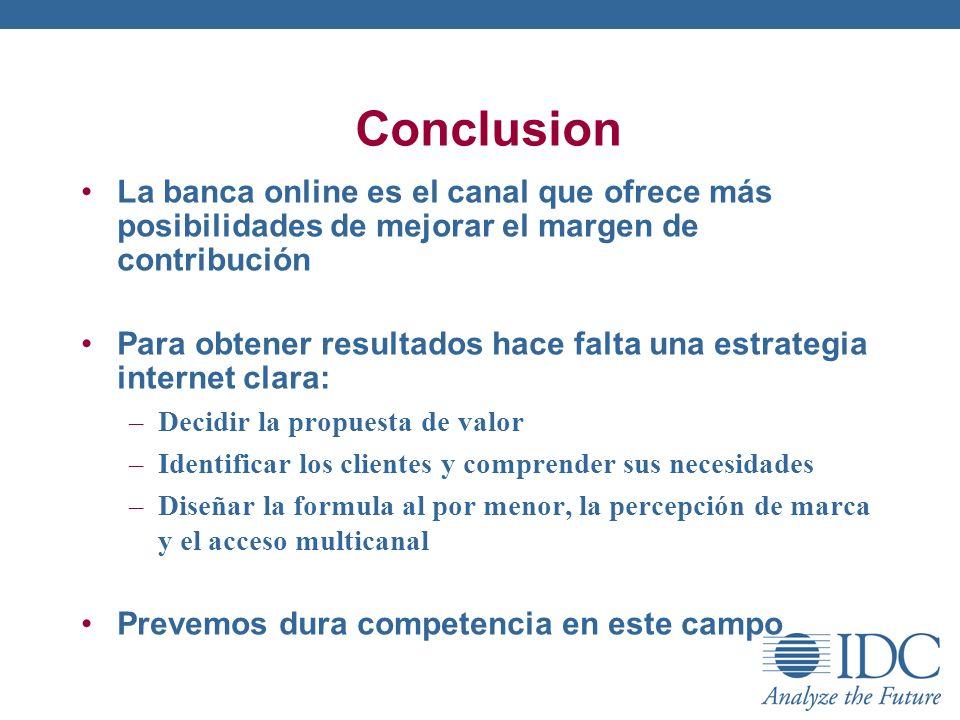 ConclusionLa banca online es el canal que ofrece más posibilidades de mejorar el margen de contribución.