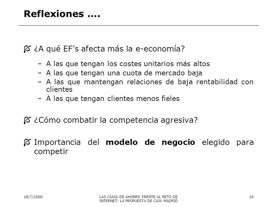 Reflexiones …. ¿A qué EF's afecta más la e-economía
