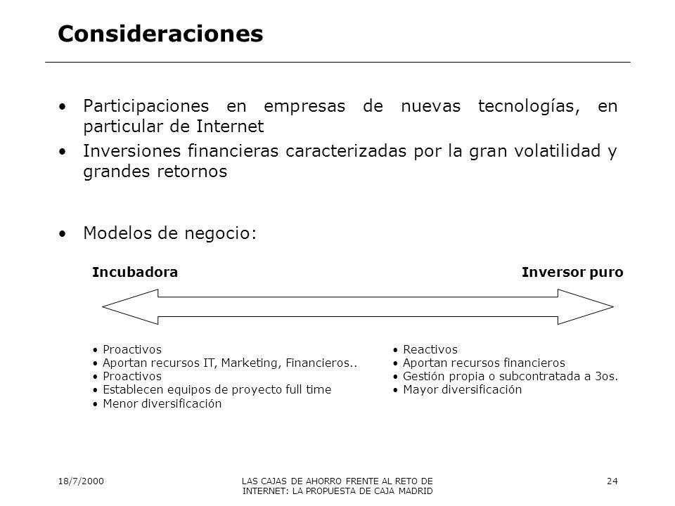 Consideraciones Participaciones en empresas de nuevas tecnologías, en particular de Internet.