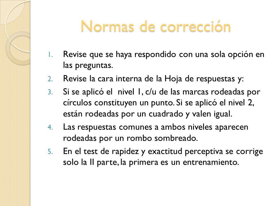 Normas de corrección Revise que se haya respondido con una sola opción en las preguntas. Revise la cara interna de la Hoja de respuestas y: