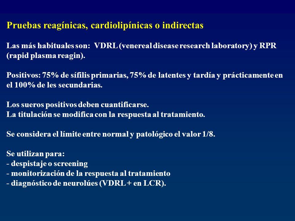 Pruebas reagínicas, cardiolipínicas o indirectas