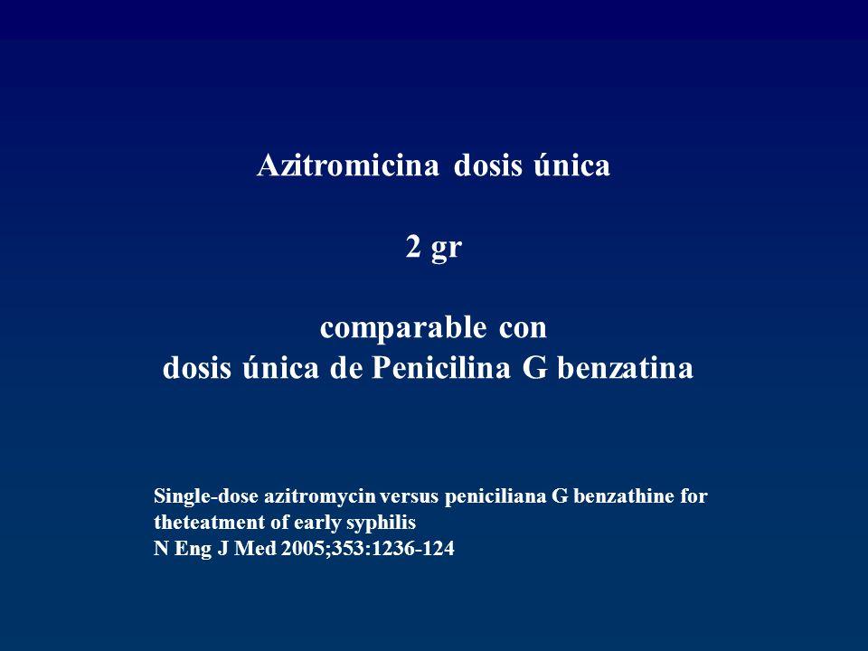 Azitromicina dosis única dosis única de Penicilina G benzatina
