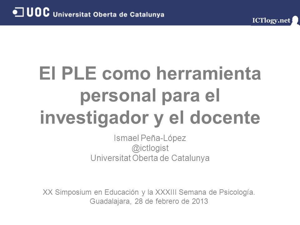 El PLE como herramienta personal para el investigador y el docente