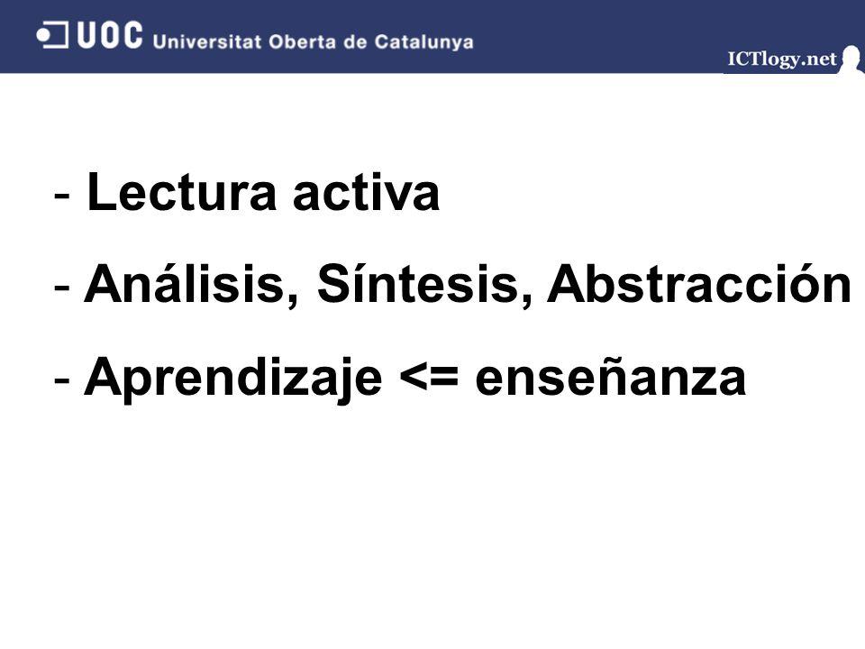 Lectura activa Análisis, Síntesis, Abstracción Aprendizaje <= enseñanza